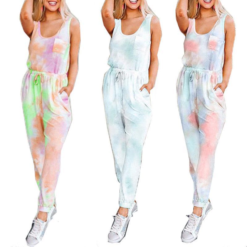 Las mujeres de alta calidad de dos piezas de ropa Trajes Set Ropa ocasionales sin mangas Tie-dye