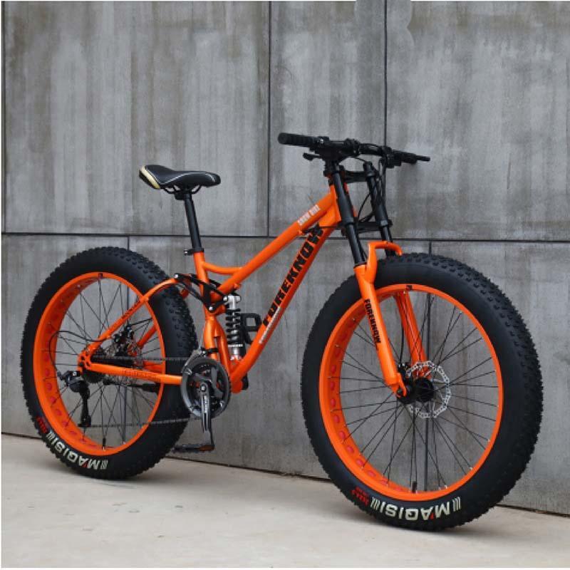 Front e posteriore Dual Dual Shock-assorbente da 26 pollici 27-velocità Off-Road Beach Snowmobile Veloce Velocità Variabile Ultra-Wide 4.0 Big Tire Mountain Bike