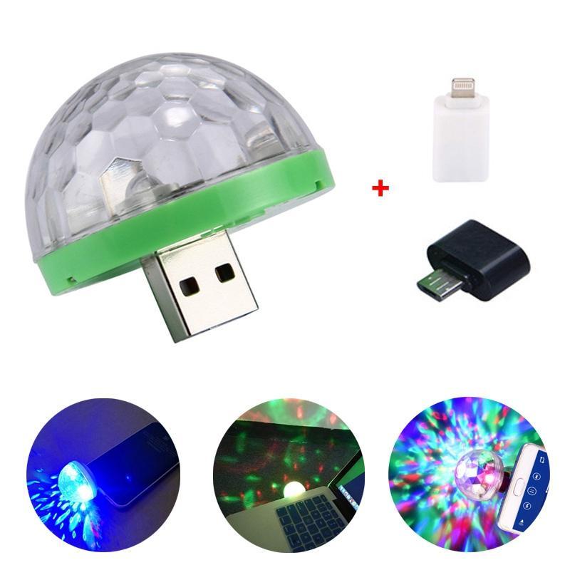 Xmas Party Mini Disco luzes do palco Led DJ Karaoke Decor Car Lamp Celular Music Control Cristal Magic Ball luz colorida