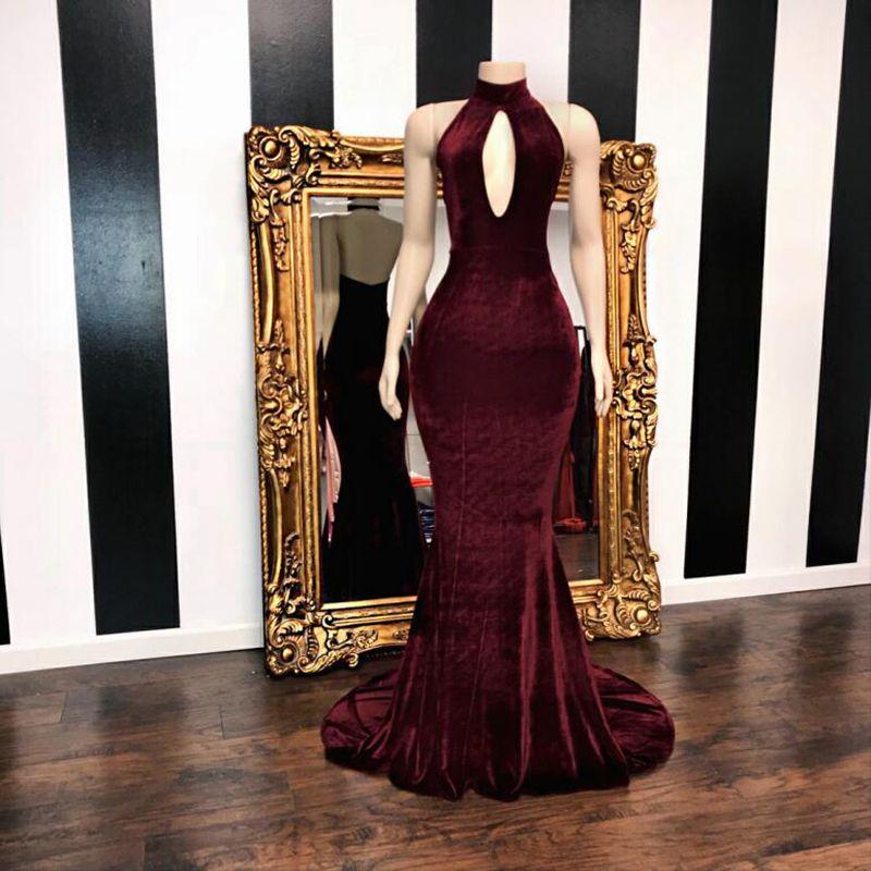 Long Prom Dresses 2019 Elegant High Neck Cut-Out Backless High Quality Velvet African Black Girl Burgundy Mermaid Graduation Dresses