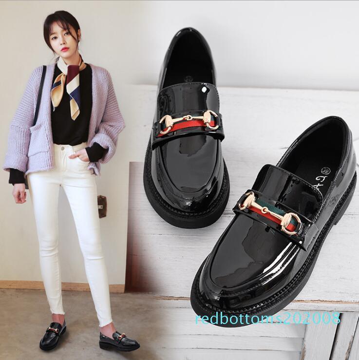 2017 otoño solos zapatos en punta del dedo del pie zapatos femeninos de tacón bajo de la boca baja plana bajo-top de las mujeres ocasionales zapatos Oxford gran tamaño R08