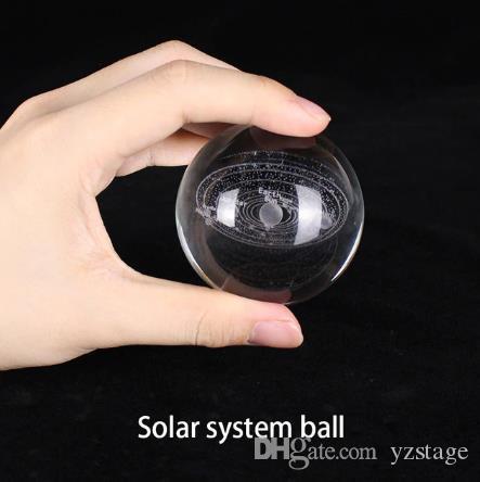 6cm 3D Engraved Galaxy Solar System Crystal Lamp Night Light Luminous Craft New