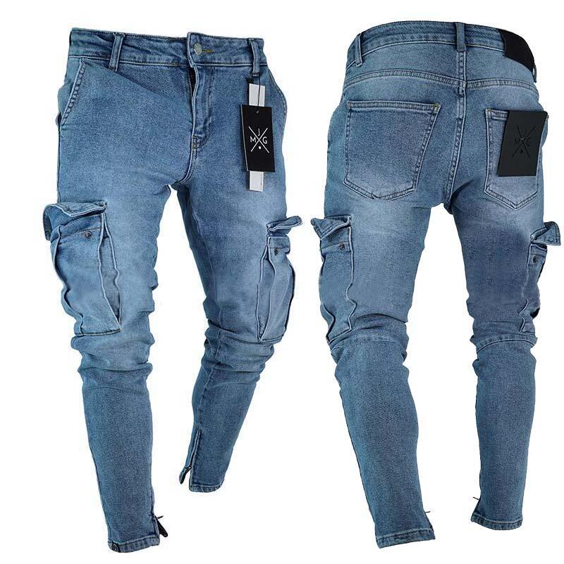 Мужские джинсы E-Baihui Мужчины проблемные удвоенные дизайнерские мужские стройные рок возрождение брюки прямые хип-хоп Jogging LF806 TF806