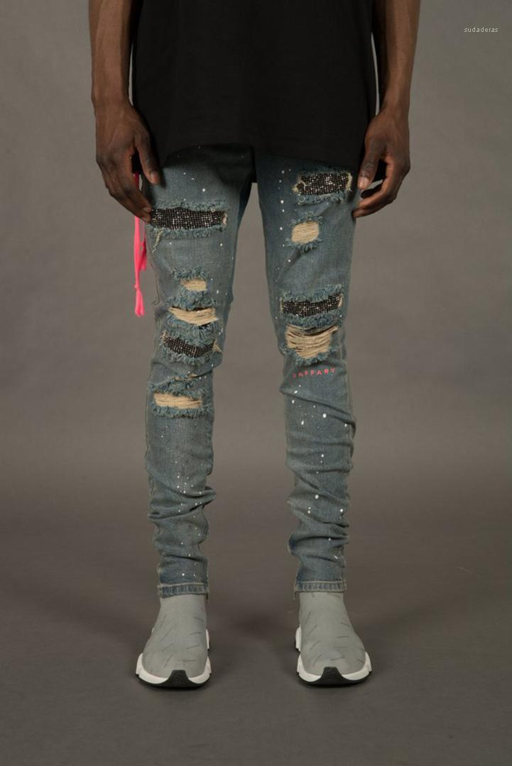 And Rhinestone Ornament Pencil Pants Homme Zipper Fly Light Washed Trousers Mens Designer Jeans Fashion Holes