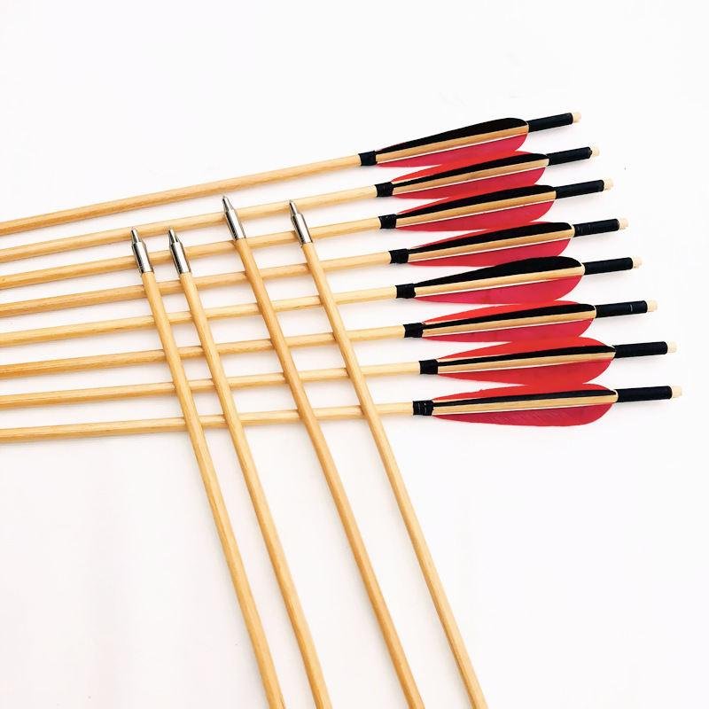 80 centimetri * 8mm arco tradizionale e freccia arco ricurvo obiettivo speciale freccia fucilazione intrattenimento all'aperto freccia in legno