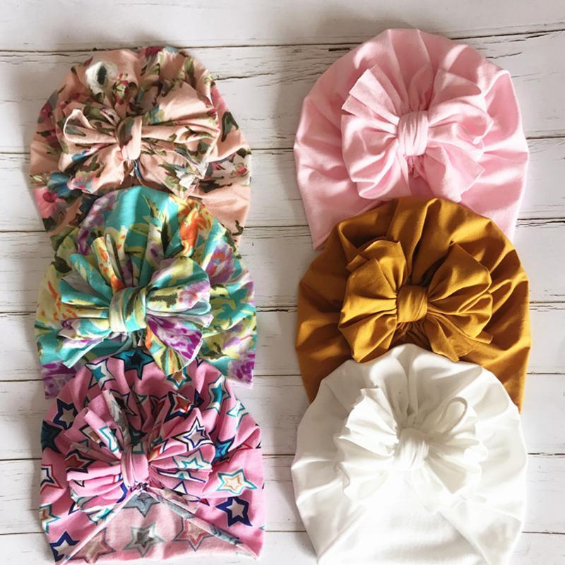 Colorful Floral Turban Bowknot Beanies Baby Hat Baby Head Wraps Cotton Big Bow Boy Girl Caps Hat