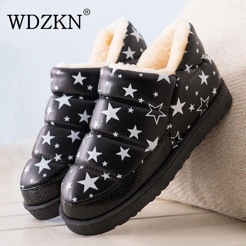 Wdzkn 2019 Snow Botas Femininas Flat Waterproof Warm Thick Plush Ankle Boots For Women Winter Platform Shoes MX190801 MX190805