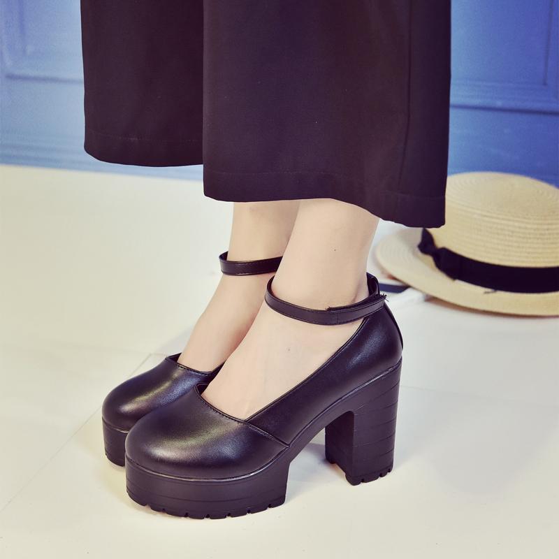 Noir et blanc Femmes d'été Pompes peu profonde à tête ronde étanche pompes femmes plate-forme Super High Heel Pumps