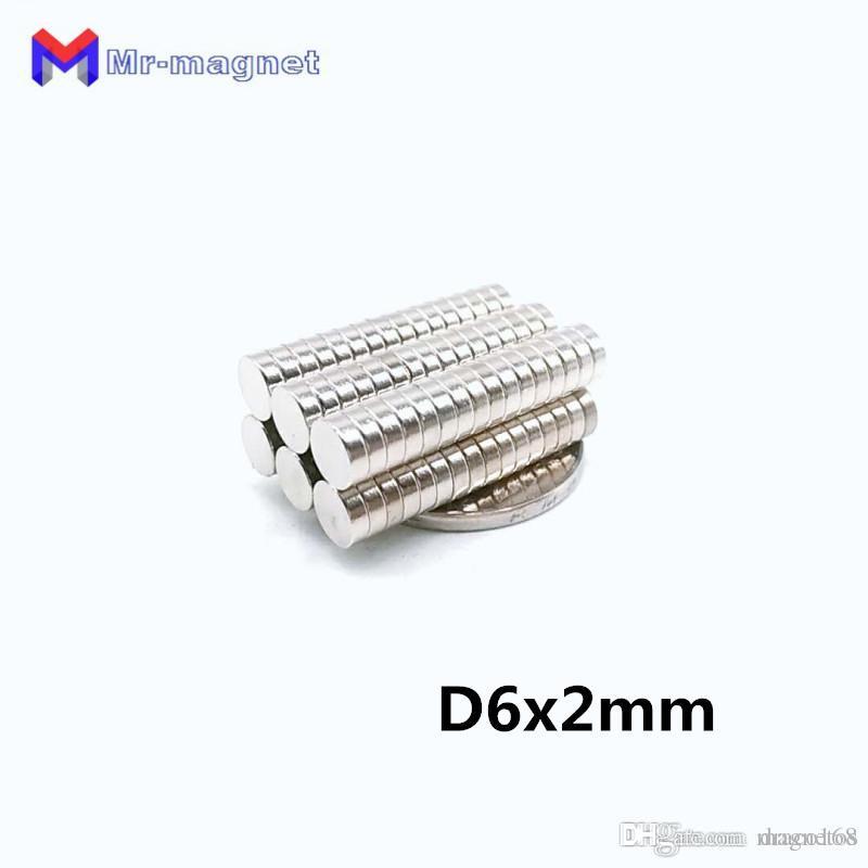 2019 Süper imanes 100Pcs 6x2 Neodymium Mıknatıs Disk Daimi N35 NdFeB Küçük Yuvarlak Güçlü Güçlü Manyetik Mıknatıslar x 2mm 6mm