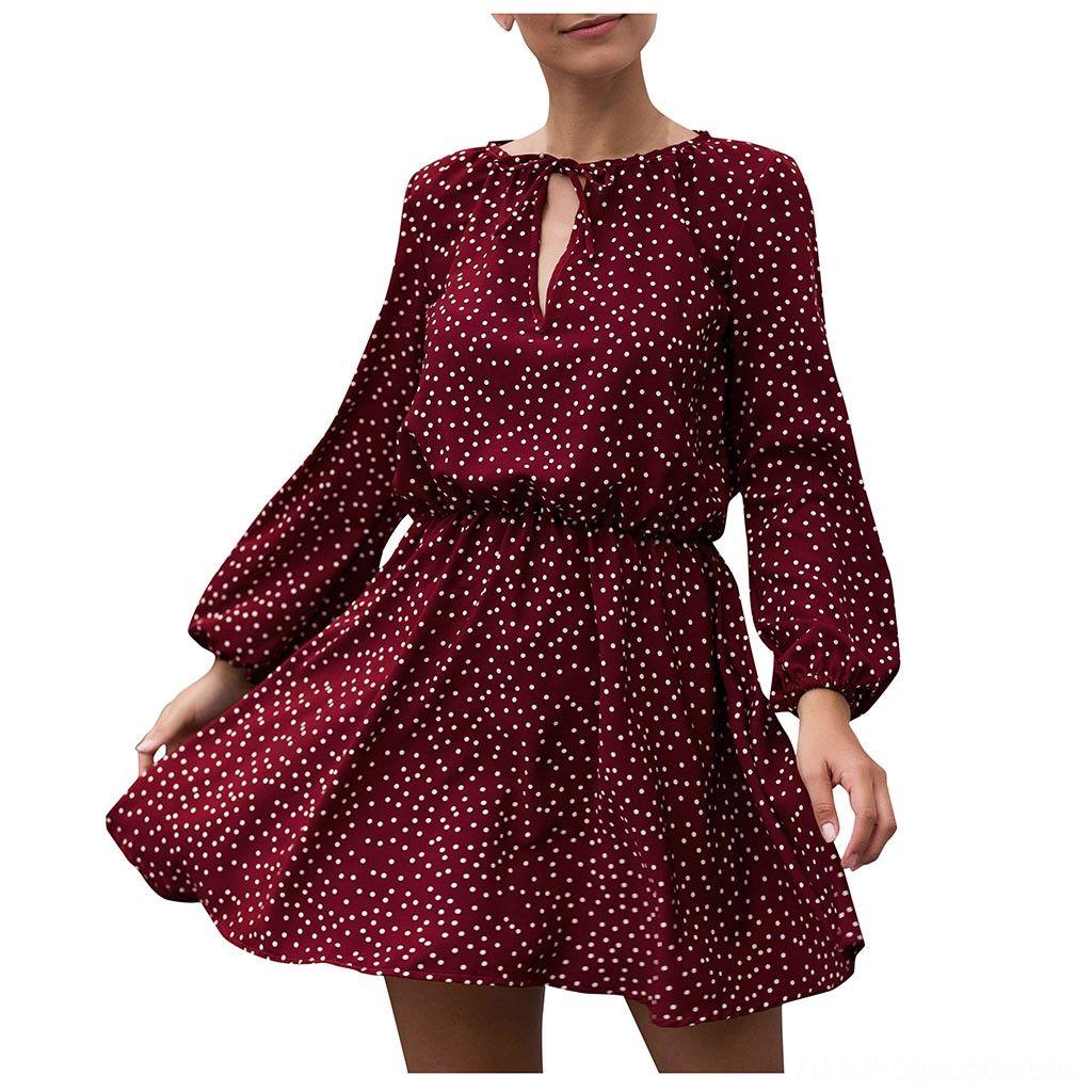 Boho Mulheres vestido de verão Dot Imprimir Halterneck manchado Vestidos Belt manga comprida Midi Sun Mulher Vestidos Mulheres Noite Sukienka Damska
