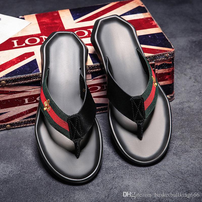 Arbeiten Sie echtes Leder Flip-Flops Herrenmode Pantoffel Leder Anti Skid Outdoor Indoor-Strand-Sandelholz-Schuhe 2 Farben