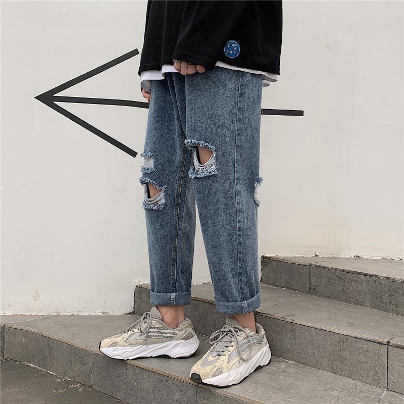 타이드 브랜드 구멍 청바지 인 소년 '바지 스트레이트 발목 길이의 바지 가을 한국 스타일의 패션을 구걸 9 점을 풀어