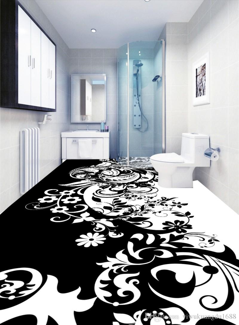 Custom 3D Mural Floor Wallpaper Black and white pattern beautiful Waterproof For Bathroom 3D Floor Wall Stickers Vinyl Kitchen Wall Paper