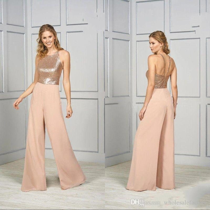 Spaghetti Rose Gold Sequined Long Bridesmaid Jumpsuits Pants 2020 Blingbling Sleeveless Plus Size Wedding Gueset Party Jumpsuits Bc2627 Champagne Bridesmaid Dresses Uk Chiffon Bridesmaid Dress From Wholesalefactory 89 16 Dhgate Com