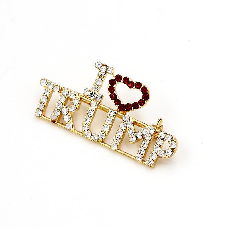 Blingbling Big Size Of CrystalTRUMP Word Brooch Pin Handmade Jewelry