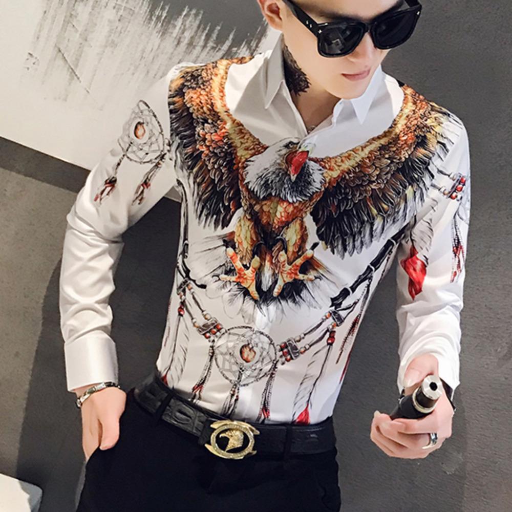 Designer 3D d'Eagle Imprimer Hommes Robe chemise à manches longues Casual Slim Fit Hommes sociaux Chemises de nuit Club Bar Vêtements Streetwear Camisa
