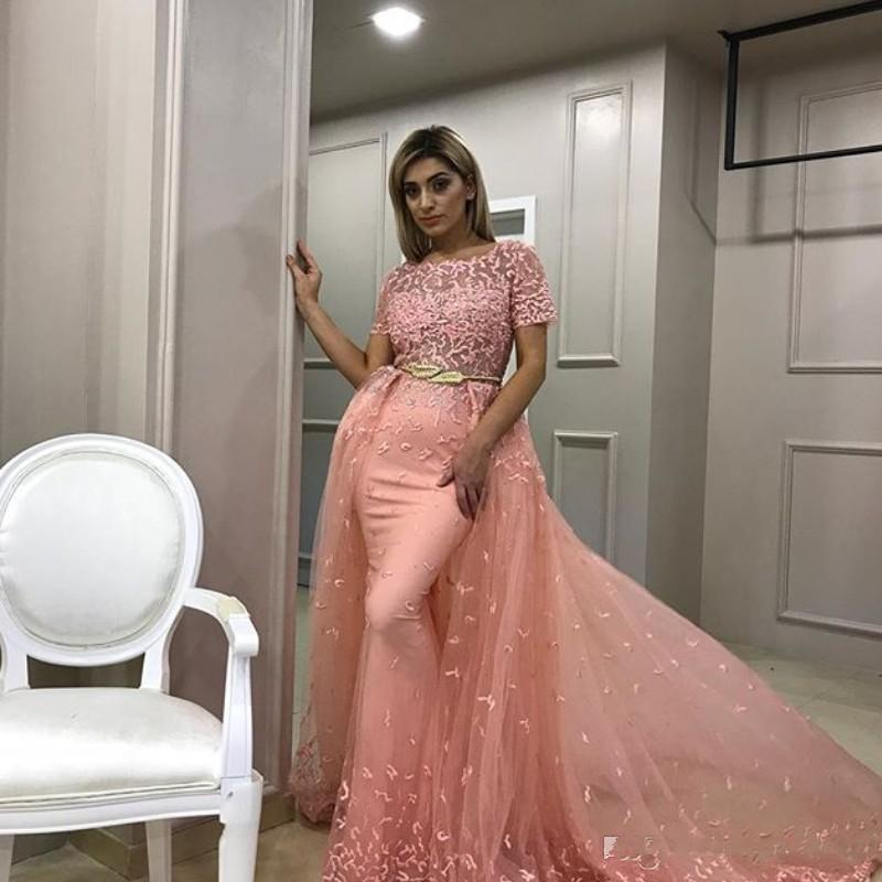 Sexy Mermaid Long Prom Dress With Overskirt Sheer Neck Short Sleeve Beads Lace Applique Party Gown Glamorous Golden Sash Tulle Evening Dress