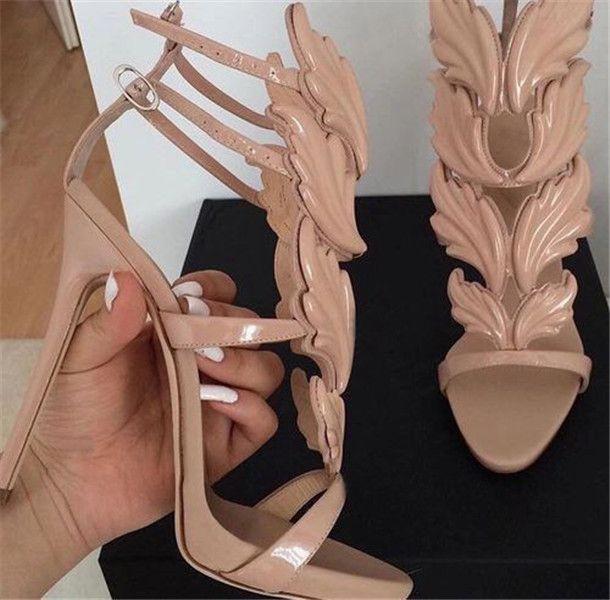 Cruel Summer Metall Blätter Winged Sandalen Frauen öffnen Zehe-Pumps Ballerina-Plattform-Schuhe Strass Gladiator Sandalen