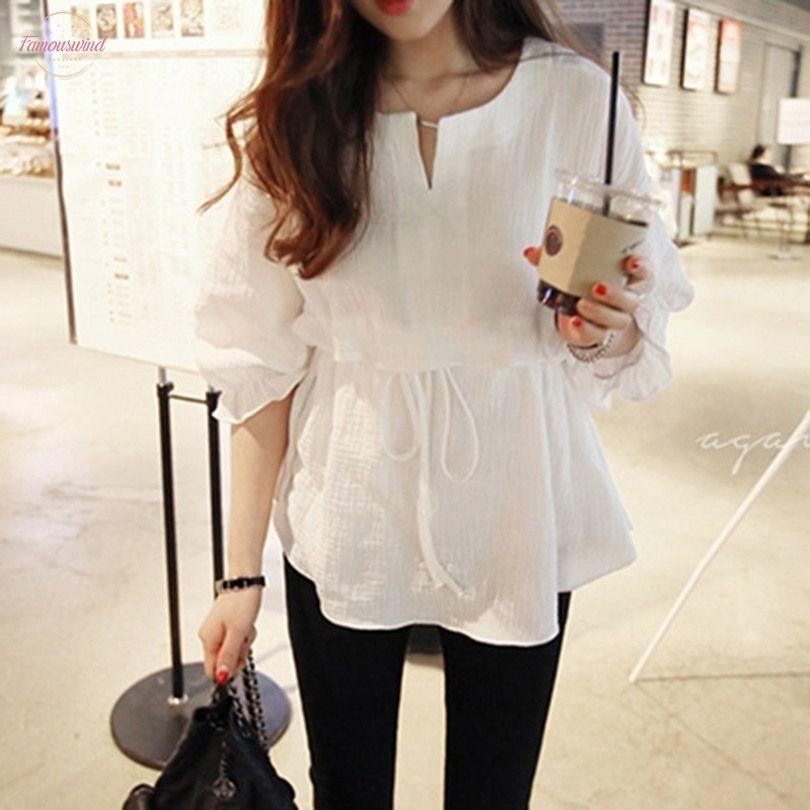 2020 봄 모델 세븐 포인트 코튼과 리넨 라운드 넥 타이 셔츠 여성 뻗 셔츠의 한국어 버전