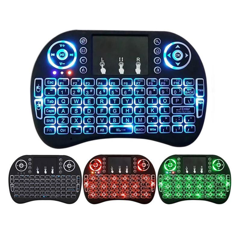 Rii I8 Fly Air Mouse 2.4G Colorful Backlit Backlight Wireless Touchpad Keyboard Multifunction For PC Pad Android TV Box MXQ V88 X96