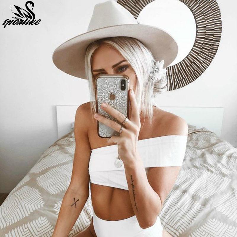 Bikinis sexy de un hombro 2019 Nuevo traje de baño sólido Traje de baño de mujer Push Up Trajes de baño Ropa de playa Bikini brasileño Set Biquini Y19072401