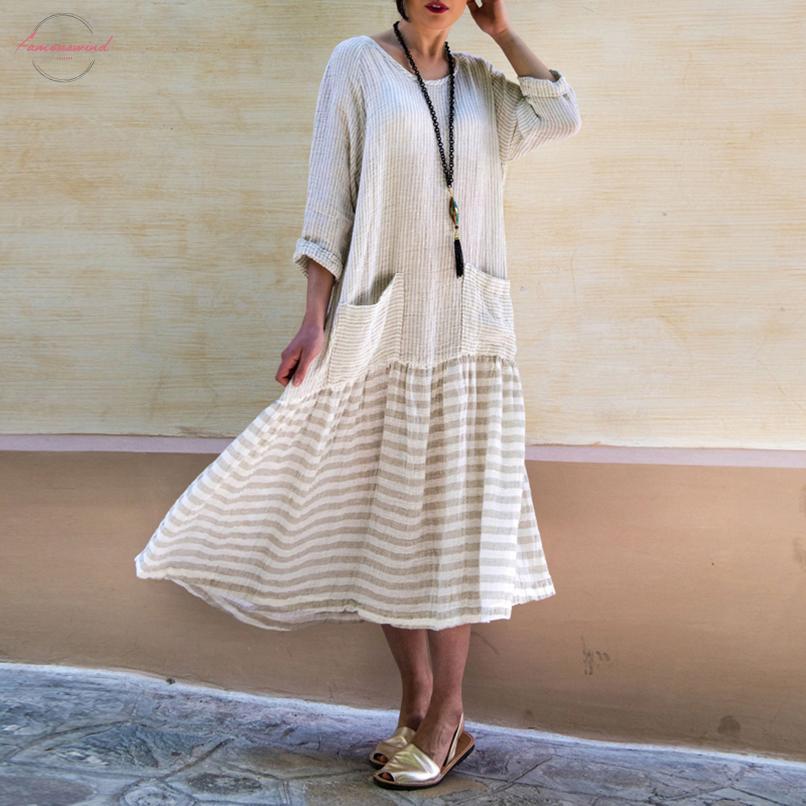 Платье Для Женщин-2020 Старинные Богемный Длинное Платье Повседневная С Длинным Рукавом В Полоску Лоскутная Свободного Покроя Ну Вечеринку Vestidos Женский Негабаритных