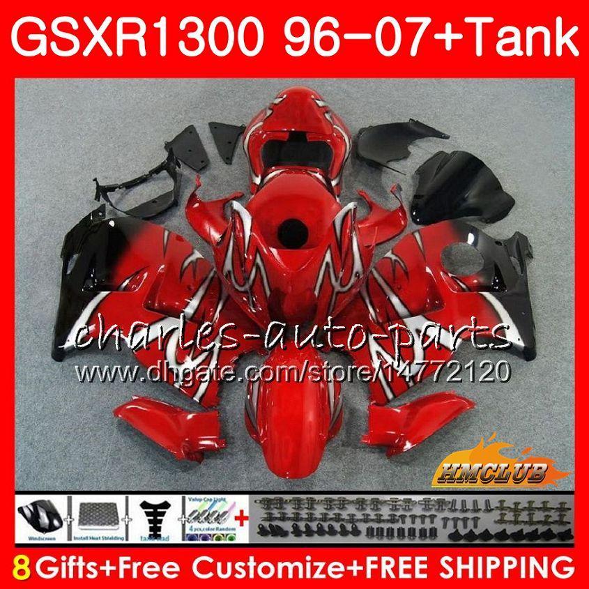 Kit Für SUZUKI GSXR-1300 GSXR1300 Hayabusa rot schwarz heiß 96 97 98 99 00 01 07 24HC.51 GSXR 1300 1996 1997 1998 1999 2000 2001 2007 Verkleidungen