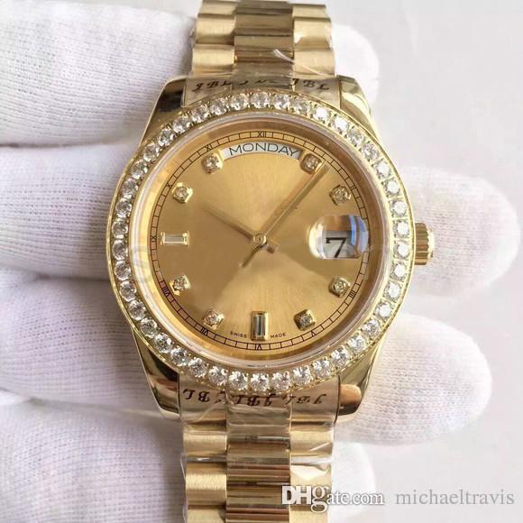 남자 시계 DATE-218348A 시리즈 18K 골드 다이얼 다이아몬드 인레이 자동 기계식 시계 대통령 스트랩 원래 접는 버클 판매