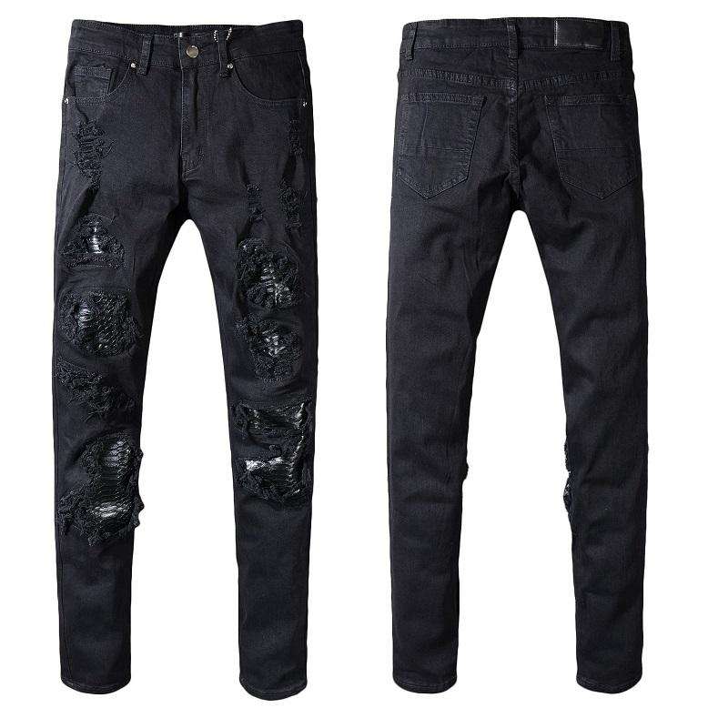 Nouvelle Italie Style # 554 # Pantalon Destroyed Distressed serpent Patches peau Hommes Noir Skinny Jeans Pantalons Biker Slim Taille 29-40