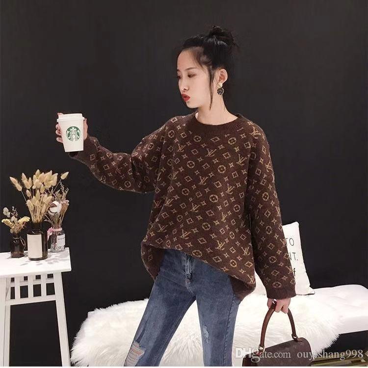 impresión de la moda caliente alrededor del cuello de 2019 Las nuevas mujeres del suéter de la chaqueta informal suéter de cuello está libre de envío