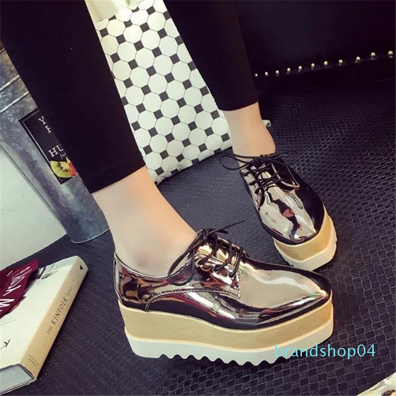 2018 femme chaussures plateforme chaussures d'or creepers vernies femme en cuir appartements designer star brillant Espadrilles richelieu chaussures bnhy654