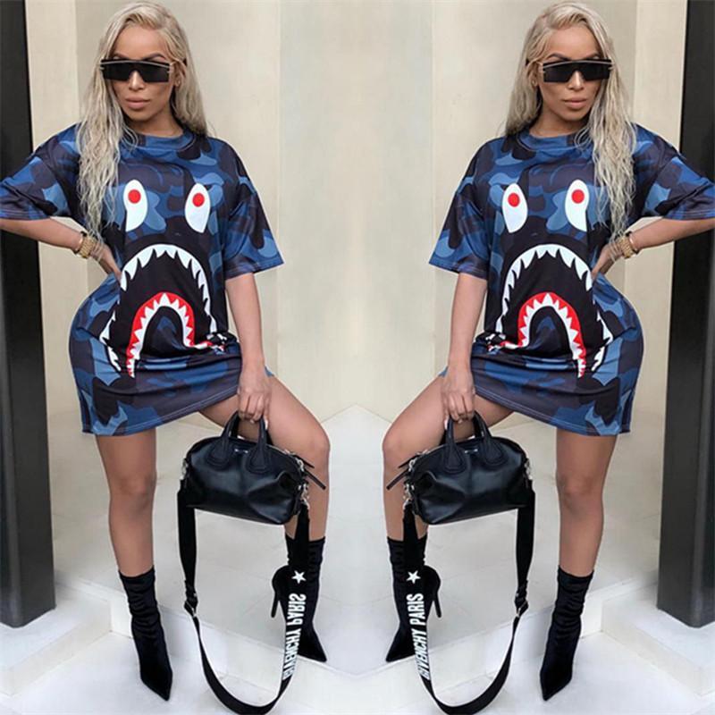 Moda Dijital Baskılı Trend Elbise Kadınlar Kısa Kollu Gevşek Elbise Yuvarlak Yaka Elbise Üst Kalite Casual Popüler Tek Parça Konfor Etekler