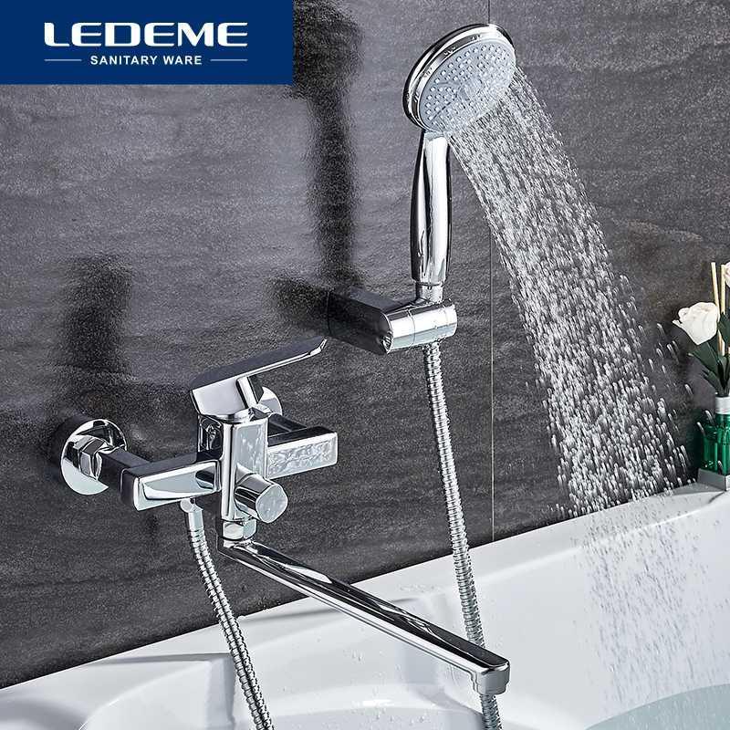 욕조 수도꼭지 욕실 샤워 수도꼭지 세트 욕실 황동 욕조 탭 크롬 도금 머리 벽 믹서 L2233