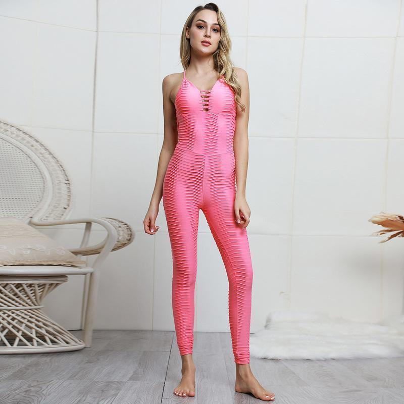 2019 Unique Sexy Sport Jumpsuit Gym Clothing Sportswear Woman Backless with Pad Fitness Workout Clothes Women Sports Overalls S