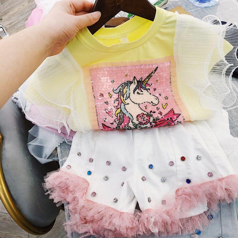 Çocuk kısa kollu tişört 2020 yaz elbise kız payetler ağır sanayi midilli boynuzlu at desen dantel topPackage posta