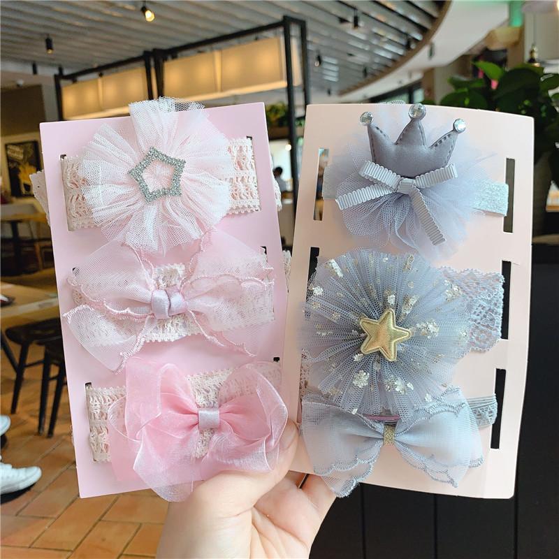 3шт / набор Нового Baby Girl оголовье Эластичного Эластичный лук / цветок / мультфильм Принцесса Новорожденного оголовье самый лучший подарок для младенца девушки