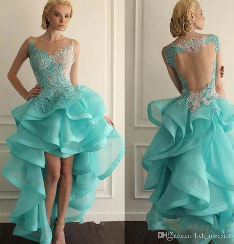 2019 New Appliqued Organza Prom Dress Newly Special Lace Tank Activity Vestido Sexy High-Low V-Neck Dancing Party Dress
