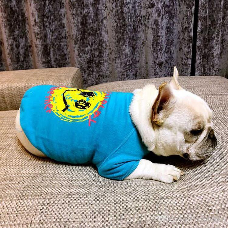Moda all'ingrosso animali domestici abbigliamento blu sorriso stampa felpe primavera e autunno cane outwear morbido cotone confortevole cane autunno