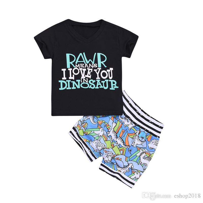 Bebek Boys Dinozor Desen Giyim Setleri Toddler Yaz Kısa Kollu Mektubu Baskı Kısa Pantolon Tops T-shirt + Şort Set 6 M-4 T