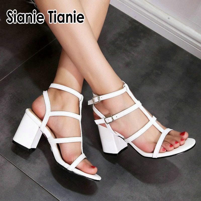 Sianie Tianie scarpe da sposa bianco blu blocco open toe tacchi alti T-strap ragazze delle donne di estate 2020 sandali gladiatore plus size 46 Y200702