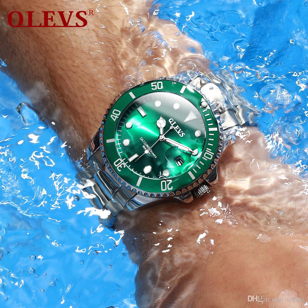 الساعات المستوردة حركة OLEVS الأعمال الرجل المناسب للماء والكوارتز مؤشر مضيئة خضراء شبح الساعات المياه أخضر / أسود