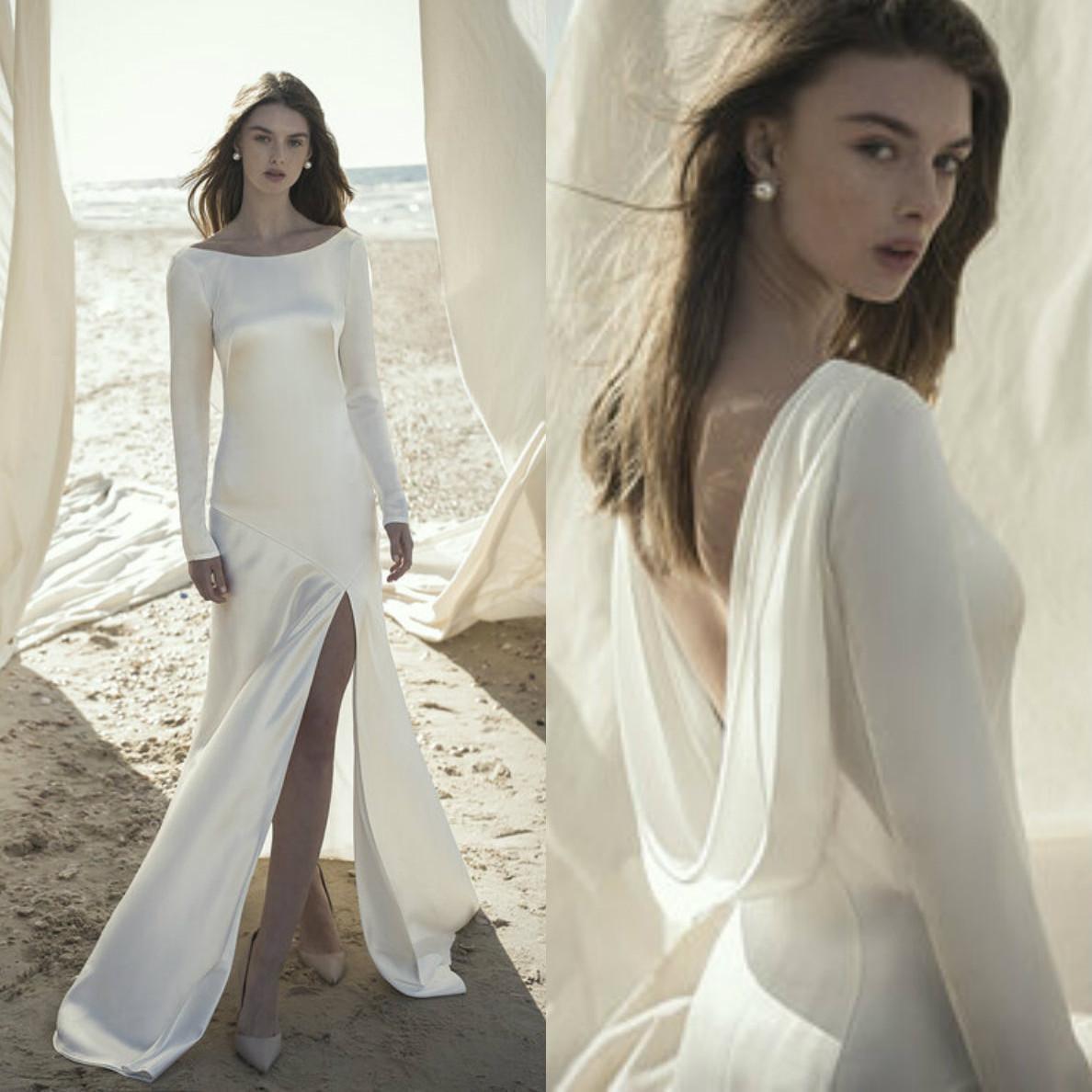 Dress Abiti Semplice Estate Bohemian sposa Mermaid maniche lunghe ad alta Split Backless Abiti da sposa Beach Garden Wedding Robe Abiti