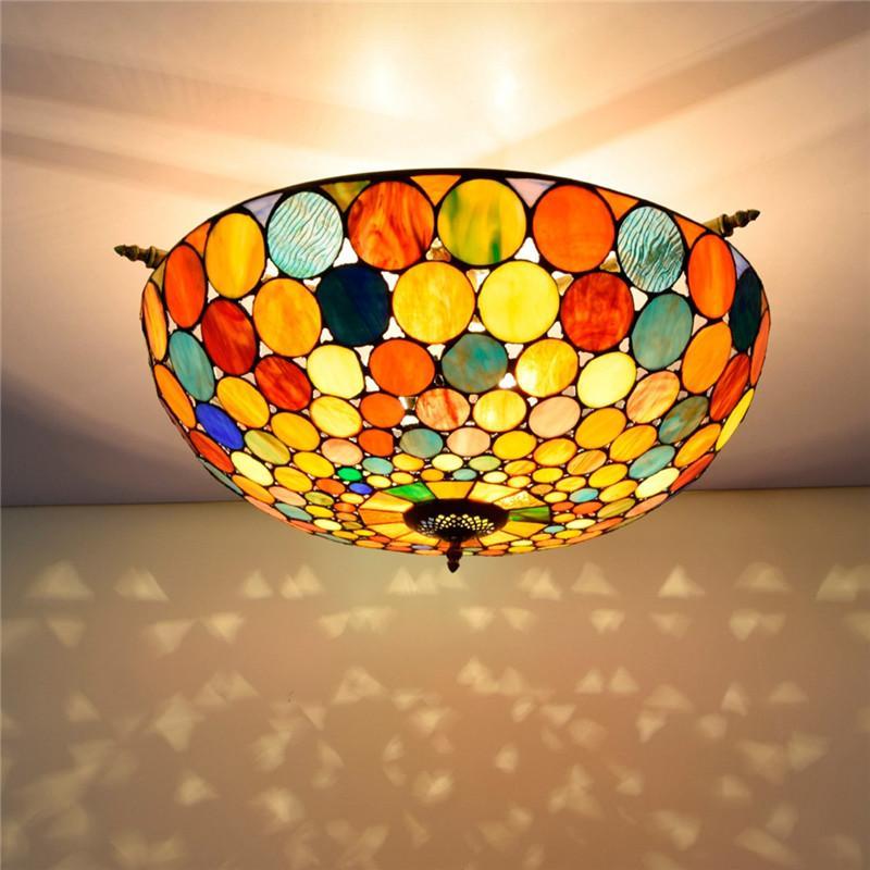 Tiffany estilo manchado teto luzes de teto 26 polegadas europeu arte retro decorativo luzes de refeições bar Bar Bedroom lâmpada semi-teto TF026