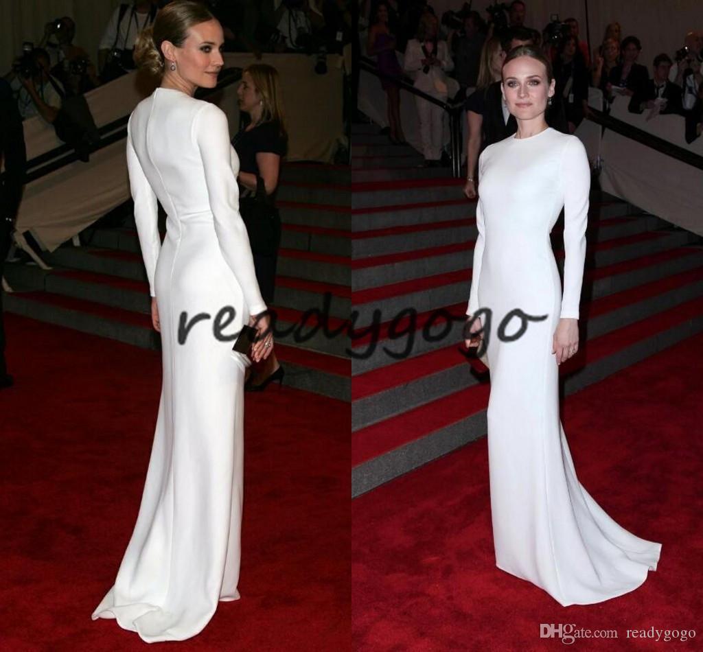 Katy Perry Abiti da sera bianchi modesti con maniche lunghe 2020 gioiello collo semplice sirena tappeto rosso abito da ballo celebrità