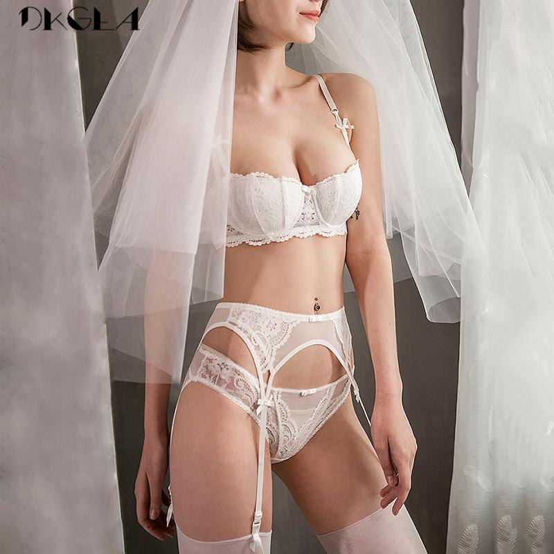 White Bras Push-up Women Lingerie Set Cotton Brassiere Embroidery Lace Bra Set 3 Piece Bra+panties+garter Sexy Underwear Set Y19070101