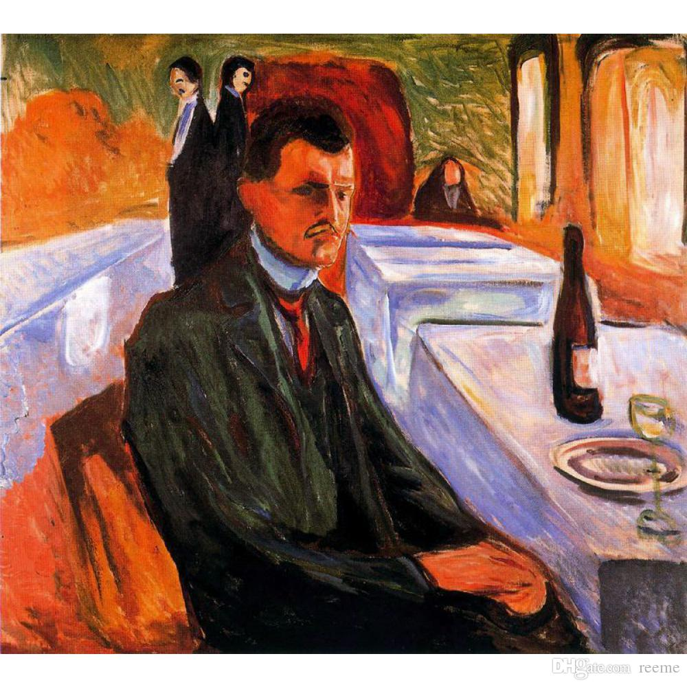 Canvas art abstract oil paintings by Edvard Munch Self-portrait with bottle of wine for wall decor hand painted