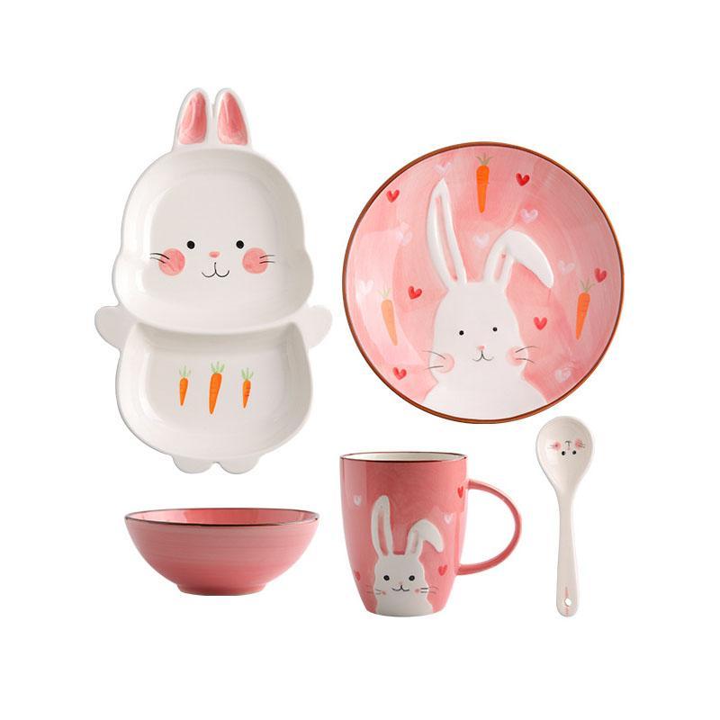 Cartoon Rosa Kaninchen Keramik Geschirr Set Für Kinder Kinder Kleinkind Baby Handgemalte Tier Fütterungsschale Teller Teller Schüssel Becher Löffel