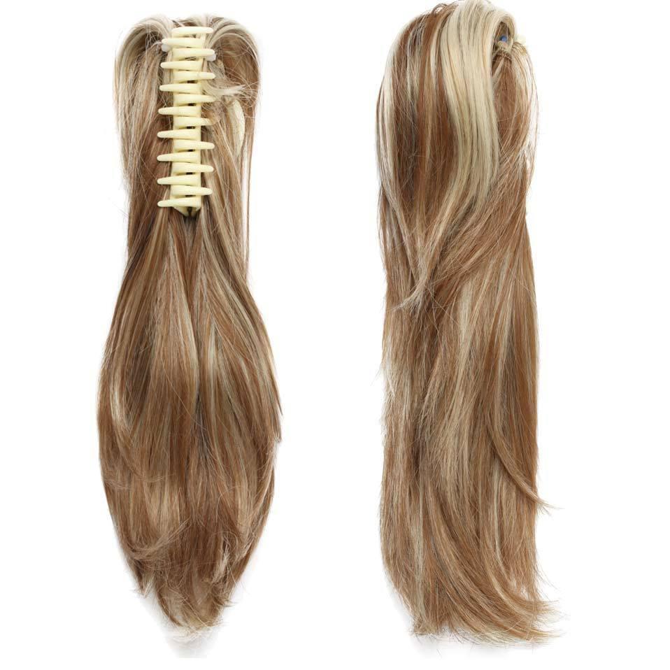 """Mode 12 """"Diy Pony Tail Court Clip Bouclés En Griffe Queue De Cheval Extensions de Cheveux W Synthétique Postiche Noir Brun Blonde 95g"""