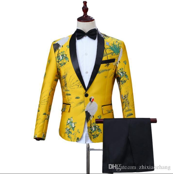 Chor Druck Blazer Männer Bräutigam Anzug mit -hosen Ternos slim fit masculinos Sänger stern Bühne Kleidung des formalen Kleides