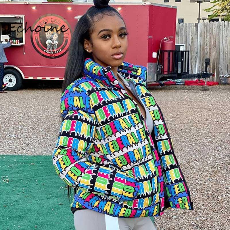Moda burbuja Puffer chaqueta de las mujeres chaqueta abajo Carta caliente grueso capa femenina de la corto manga larga de invierno de tela para wommen